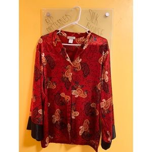 Red Patterned Silk Blouse